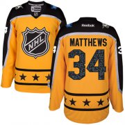 Wholesale Cheap Maple Leafs #34 Auston Matthews Yellow 2017 All-Star Atlantic Division Women's Stitched NHL Jersey