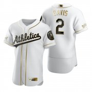 Wholesale Cheap Oakland Athletics #2 Khris Davis White Nike Men's Authentic Golden Edition MLB Jersey
