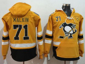 Wholesale Cheap Penguins #71 Evgeni Malkin Gold Sawyer Hooded Sweatshirt 2017 Stadium Series Stitched NHL Jersey