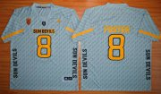 Wholesale Cheap Men's Arizona State Sun Devils #8 D.J. Foster Gray Desert Ice 2015 College Football Jersey