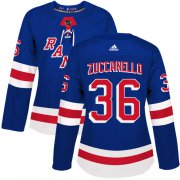 Wholesale Cheap Adidas Rangers #36 Mats Zuccarello Royal Blue Home Authentic Women's Stitched NHL Jersey