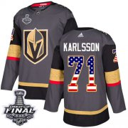 Wholesale Cheap Adidas Golden Knights #71 William Karlsson Grey Home Authentic USA Flag 2018 Stanley Cup Final Stitched NHL Jersey