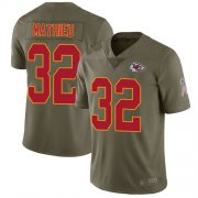 Wholesale Cheap Nike Chiefs #32 Tyrann Mathieu Olive Youth Stitched NFL Limited 2017 Salute to Service Jersey