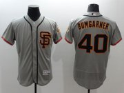 Wholesale Cheap Giants #40 Madison Bumgarner Grey Flexbase Authentic Collection Road 2 Stitched MLB Jersey