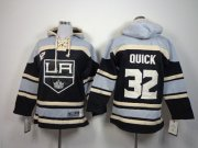 Wholesale Cheap Kings #32 Jonathan Quick Black Sawyer Hooded Sweatshirt Stitched Youth NHL Jersey
