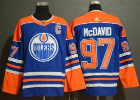 Wholesale Cheap Adidas Oilers #97 Connor McDavid Royal Blue Alternate Authentic Stitched NHL Jersey