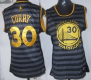 Wholesale Cheap Golden State Warriors #30 Stephen Curry Gray With Black Pinstripe Womens Jersey