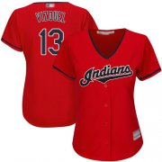 Wholesale Cheap Indians #13 Omar Vizquel Red Women's Stitched MLB Jersey