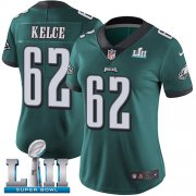 Wholesale Cheap Nike Eagles #62 Jason Kelce Midnight Green Team Color Super Bowl LII Women's Stitched NFL Vapor Untouchable Limited Jersey