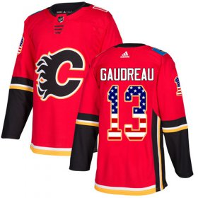 Wholesale Cheap Adidas Flames #13 Johnny Gaudreau Red Home Authentic USA Flag Stitched Youth NHL Jersey