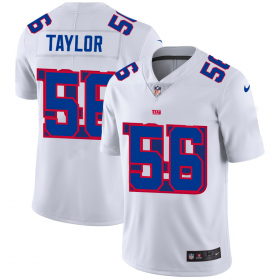 Wholesale Cheap New York Giants #56 Lawrence Taylor White Men\'s Nike Team Logo Dual Overlap Limited NFL Jersey