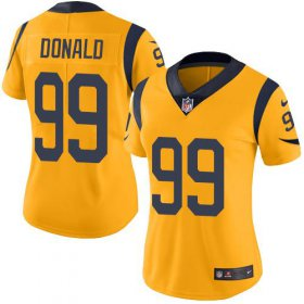 Wholesale Cheap Nike Rams #99 Aaron Donald Gold Women\'s Stitched NFL Limited Rush Jersey