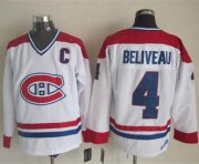 Wholesale Cheap Canadiens #4 Jean Beliveau White CH-CCM Throwback Stitched NHL Jersey