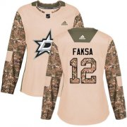 Cheap Adidas Stars #12 Radek Faksa Camo Authentic 2017 Veterans Day Women's Stitched NHL Jersey