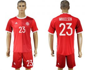 Wholesale Cheap Danmark #23 Mikkelsen Red Home Soccer Country Jersey