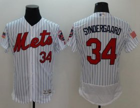 Wholesale Cheap Mets #34 Noah Syndergaard White(Blue Strip) Fashion Stars & Stripes Flexbase Authentic Stitched MLB Jersey