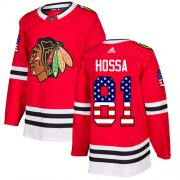 Wholesale Cheap Adidas Blackhawks #81 Marian Hossa Red Home Authentic USA Flag Stitched Youth NHL Jersey