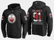 Wholesale Cheap Oilers #91 Drake Caggiula NHL Banner Wave Usa Flag Black Hoodie