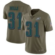 Wholesale Cheap Nike Eagles #31 Jalen Mills Olive Youth Stitched NFL Limited 2017 Salute to Service Jersey