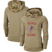 Wholesale Cheap Women's Atlanta Falcons Nike Khaki 2019 Salute to Service Therma Pullover Hoodie