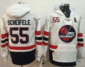 Wholesale Cheap Jets #55 Mark Scheifele White Name & Number Pullover NHL Hoodie