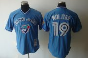 Wholesale Cheap Mitchell And Ness Blue Jays #19 Paul Molitor Blue Stitched MLB Jersey