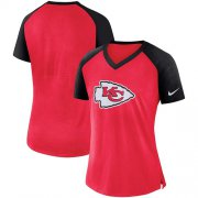 Wholesale Cheap Women's Kansas City Chiefs Nike Red-Black Top V-Neck T-Shirt