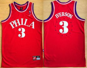 Wholesale Cheap Men\'s Philadelphia Sixers #3 Allen Iverson 1964 Red Hardwood Classics Soul Swingman Throwback Jersey