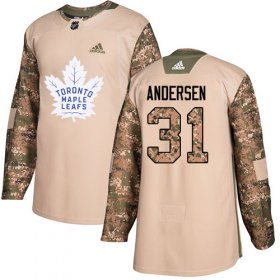 Wholesale Cheap Adidas Maple Leafs #31 Frederik Andersen Camo Authentic 2017 Veterans Day Stitched NHL Jersey