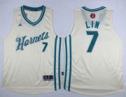 Wholesale Cheap Men's Charlotte Hornets #7 Jeremy Lin Revolution 30 Swingman 2015 Christmas Day Cream Jersey