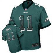 Wholesale Cheap Nike Eagles #11 Carson Wentz Midnight Green Team Color Youth Stitched NFL Elite Drift Fashion Jersey