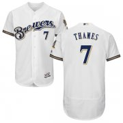 Wholesale Cheap Brewers #7 Eric Thames White Flexbase Authentic Collection Stitched MLB Jersey