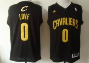 Wholesale Cheap Cleveland Cavaliers #0 Kevin Love Revolution 30 Swingman Black With Gold Jersey