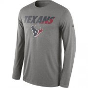 Wholesale Cheap Men's Houston Texans Nike Heather Gray Legend Staff Practice Long Sleeves Performance T-Shirt