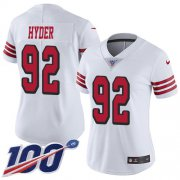 Wholesale Cheap Nike 49ers #92 Kerry Hyder White Women's Stitched NFL Limited Rush 100th Season Jersey