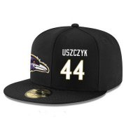 Wholesale Cheap Baltimore Ravens #44 Kyle Juszczyk Snapback Cap NFL Player Black with White Number Stitched Hat