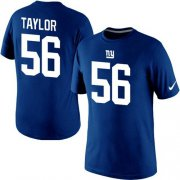 Wholesale Cheap Nike New York Giants #56 Lawrence Taylor Pride Name & Number NFL T-Shirt Blue