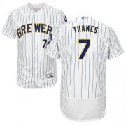 Wholesale Cheap Brewers #7 Eric Thames White Strip Flexbase Authentic Collection Stitched MLB Jersey
