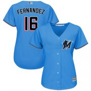 Wholesale Cheap Marlins #16 Jose Fernandez Blue Alternate Women's Stitched MLB Jersey
