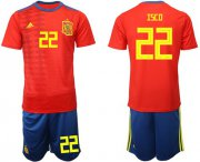 Wholesale Cheap Spain #22 Isco Home Soccer Country Jersey