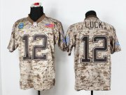 Wholesale Cheap Nike Colts #12 Andrew Luck Camo Men's Stitched NFL New Elite USMC Jersey