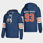 Wholesale Cheap Edmonton Oilers #93 Ryan Nugent-Hopkins Royal adidas Lace-Up Pullover Hoodie