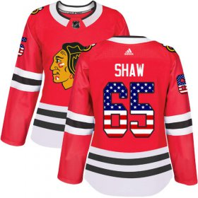 Wholesale Cheap Adidas Blackhawks #65 Andrew Shaw Red Home Authentic USA Flag Women\'s Stitched NHL Jersey