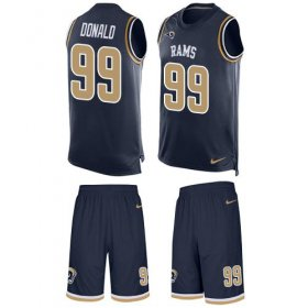 Wholesale Cheap Nike Rams #99 Aaron Donald Navy Blue Team Color Men\'s Stitched NFL Limited Tank Top Suit Jersey