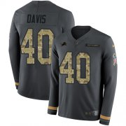 Wholesale Cheap Nike Lions #40 Jarrad Davis Anthracite Salute to Service Youth Stitched NFL Limited Therma Long Sleeve Jersey