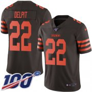 Wholesale Cheap Nike Browns #22 Grant Delpit Brown Men's Stitched NFL Limited Rush 100th Season Jersey