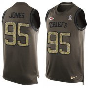 Wholesale Cheap Nike Chiefs #95 Chris Jones Green Men's Stitched NFL Limited Salute To Service Tank Top Jersey