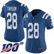 Wholesale Cheap Nike Colts #28 Jonathan Taylor Royal Blue Team Color Women's Stitched NFL 100th Season Vapor Untouchable Limited Jersey