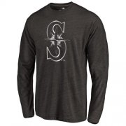 Wholesale Cheap Seattle Mariners Platinum Collection Long Sleeve Tri-Blend T-Shirt Black