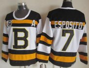 Wholesale Cheap Bruins #7 Phil Esposito White CCM Throwback 75TH Stitched NHL Jersey
